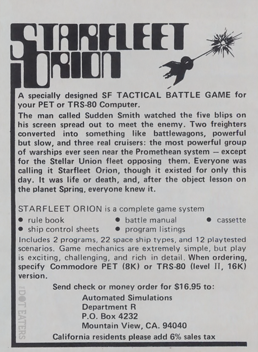 Ad for Starfleet Orion, a computer game by Automated Simulations/Epyx