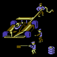 Snap of Pitstop, a computer game for the C64 by Epyx 1983