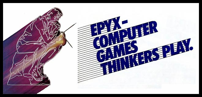 Rodin's Thinker, plus slogan for Epyx/Automated Simulations, a computer game maker