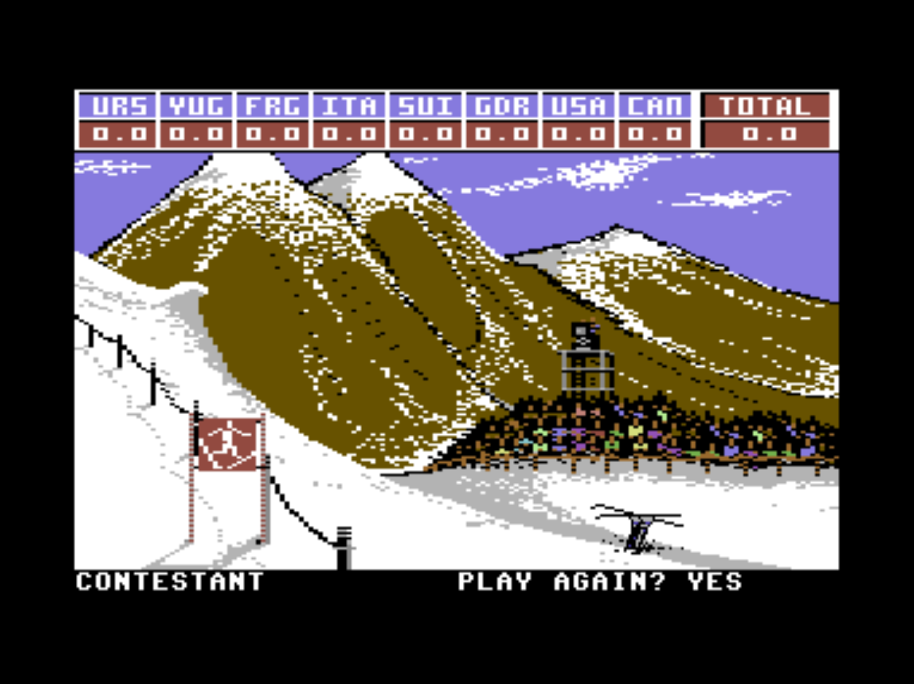 Snap from Winter Games, a computer game for the C64 by Epyx 1985