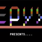 Splash screen for Jumpman, a computer video game by Epyx 1983