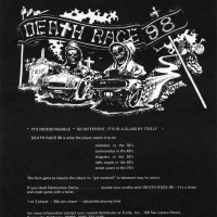Flyer for Death Race 98, an arcade video game made by Exidy 1978