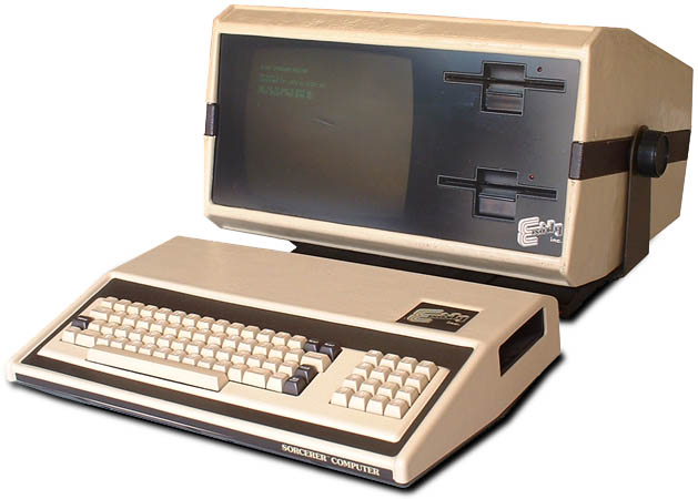 Image of the monitor and disk drive set-up for Sorcerer, a home computer by Exidy 1978
