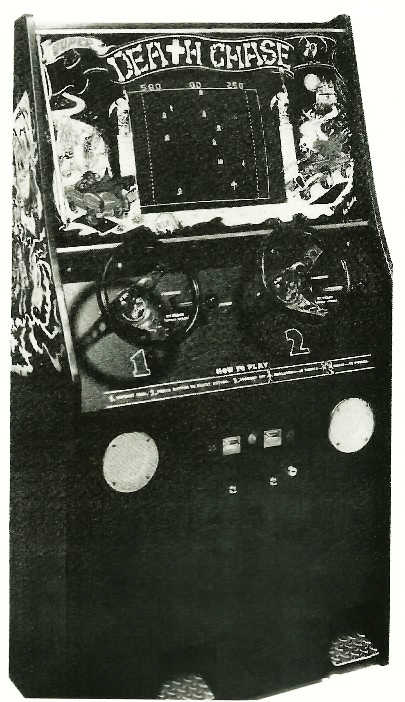 Image of Super Death Chase cabinet, an arcade video game by Exidy 1977
