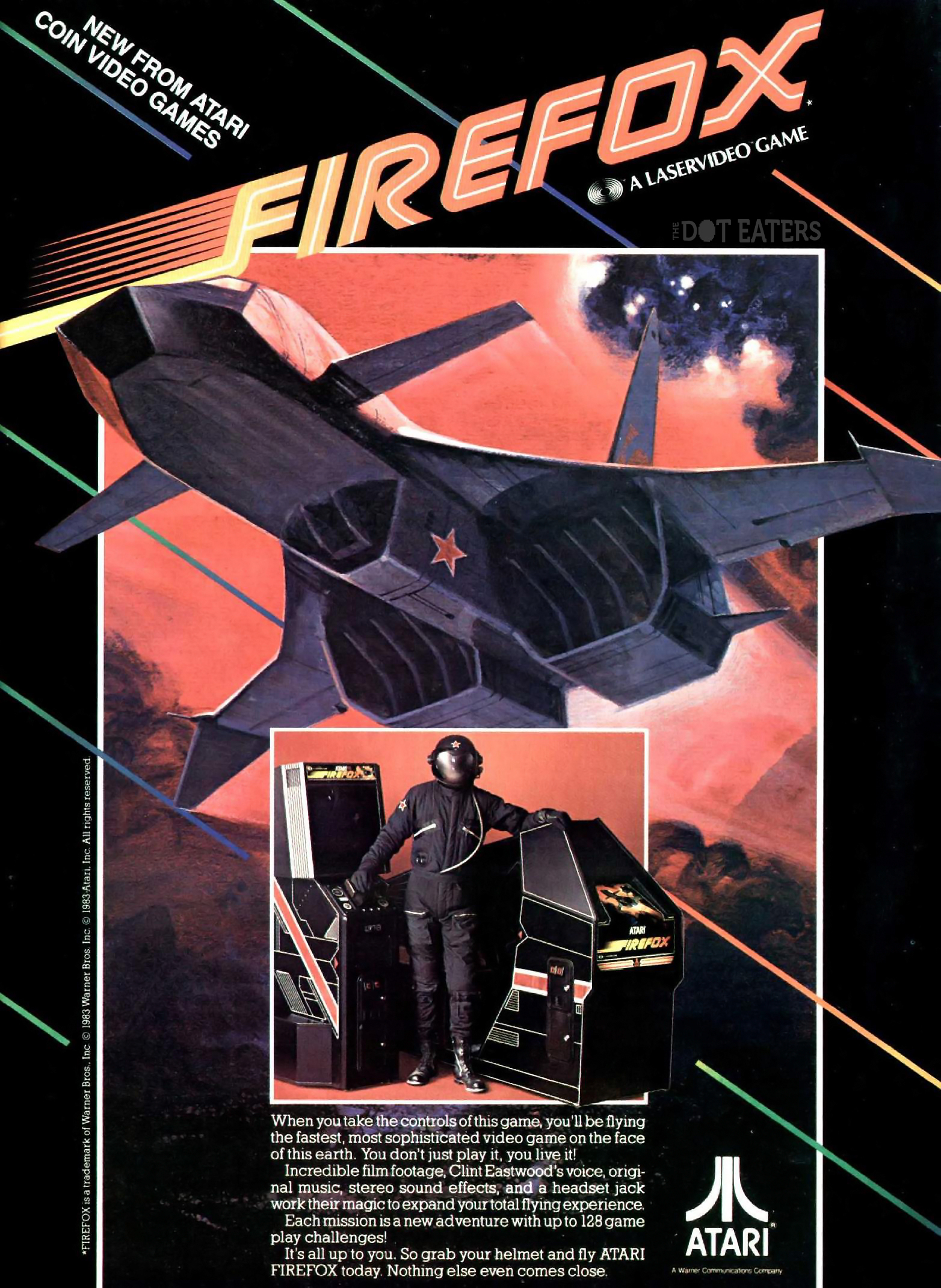 1984 ad for Firefox, an arcade laserdisc game by Atari, based on the Clint Eastwood movie
