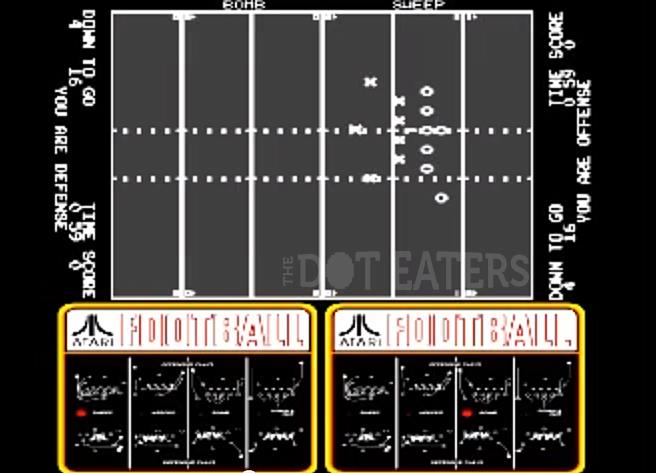 Gameplay from Atari Football, an arcade video game by Atari 1978