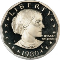 Image of the Susan B. Anthony dollar coin, U.S. Mint 1980