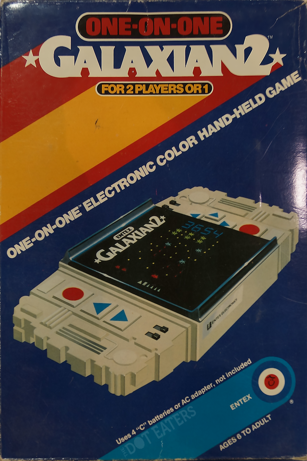 Box for Galaxian 2, an electronic LED game by Entex 1981