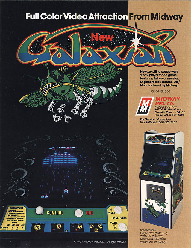Flyer for Galaxian, an arcade video game by Namco 1979