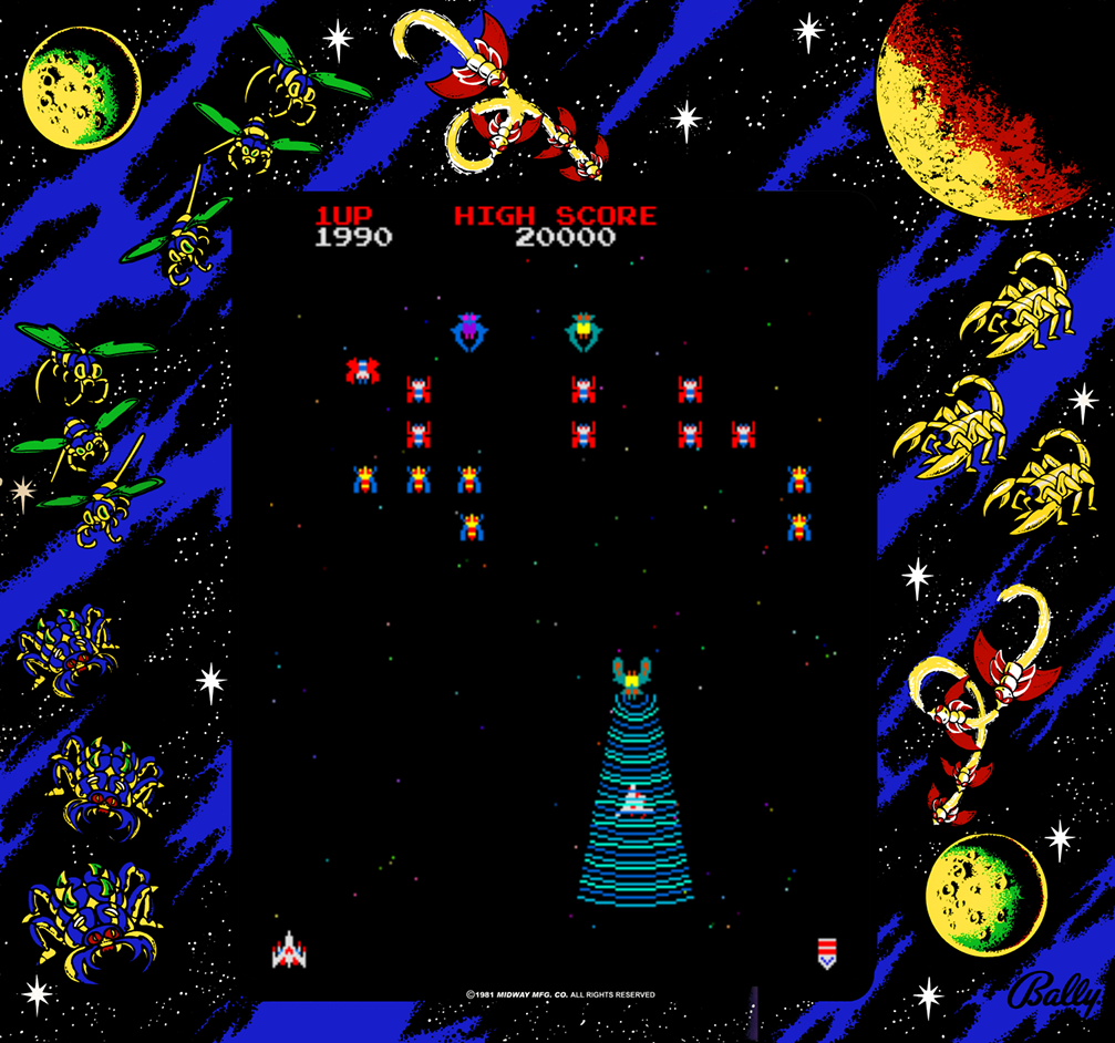 Gameplay snap of Galaga, an arcade video game by Namco/Midway 1981