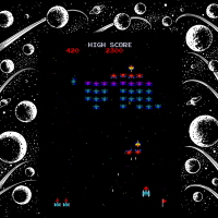 Gameplay snap of Galaxian, an arcade video game by Namco/Midway 1979
