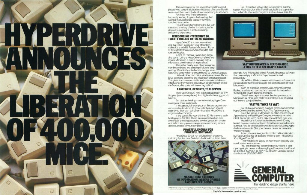 Ad for Hyperdrive, a hard drive peripheral for the Apple Macintosh computer.
