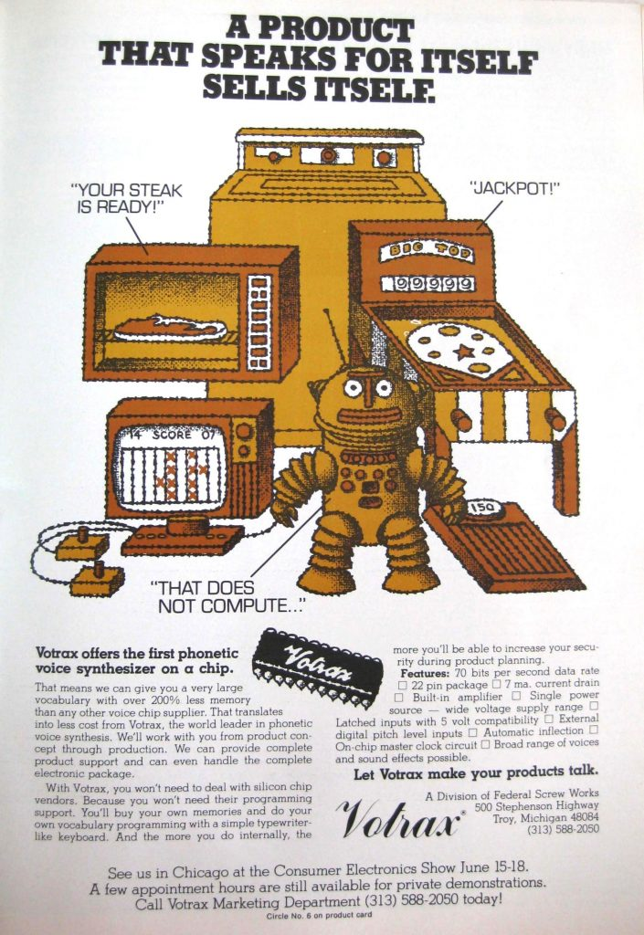 Votrax, makers of the speech chip inside Gorf, an arcade video game by Midway