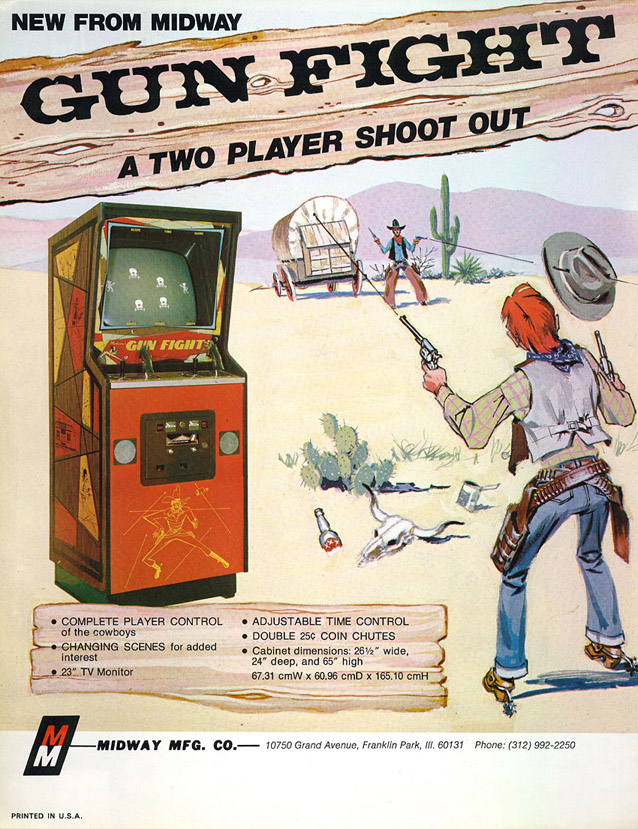 Flyer for Gun Fight, an arcade video game by Midway 1975
