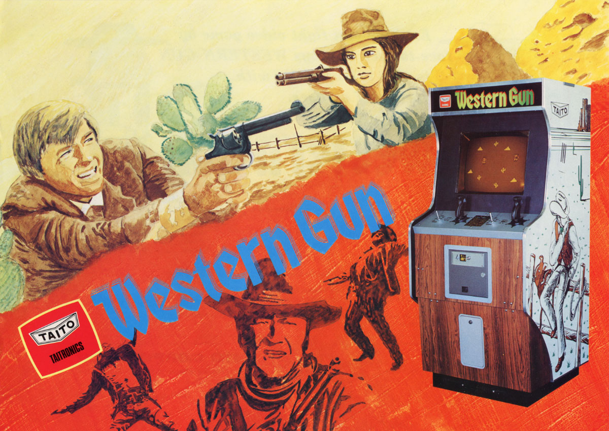 Sales flyer for Western Gun, an arcade video game by Taito 1975