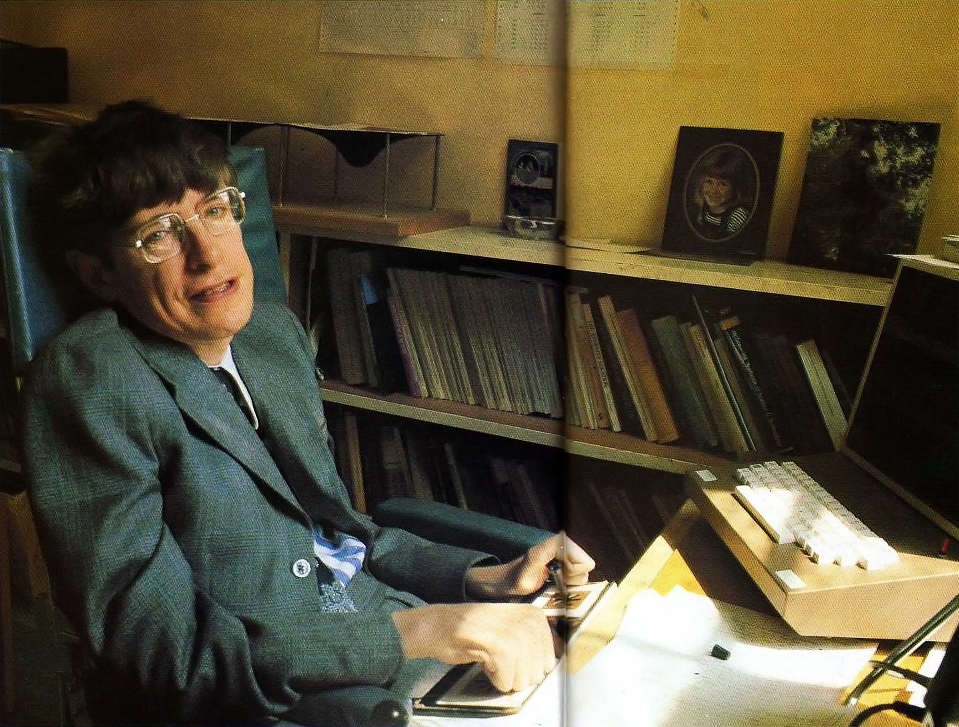 Stephen Hawking in his office at Cambridge University, 1979