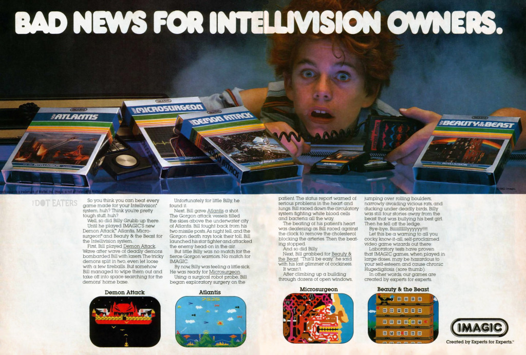 1982 ad for Imagic, a maker of video games for Mattel's Intellivision
