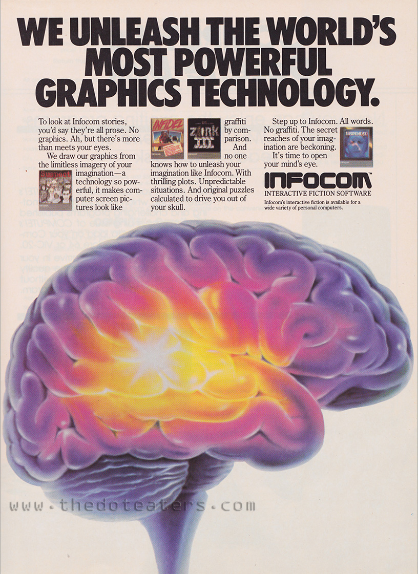 Magazine ad for Infocom, a computer game company 1983