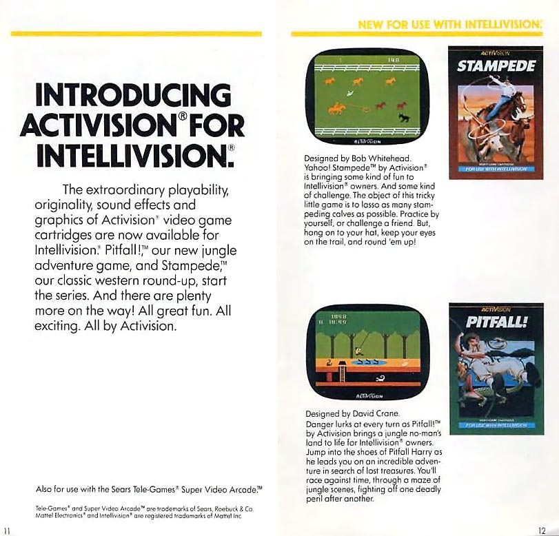 Activision games for Intellivision, a home video game console by Mattel