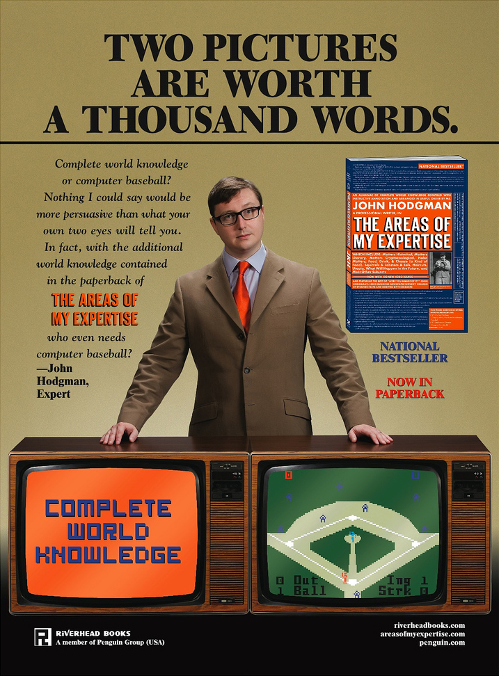 An ad for John Hodgman's book The Areas of My Expertise, meant to spoof the George Plimpton Intellivision ads 2006