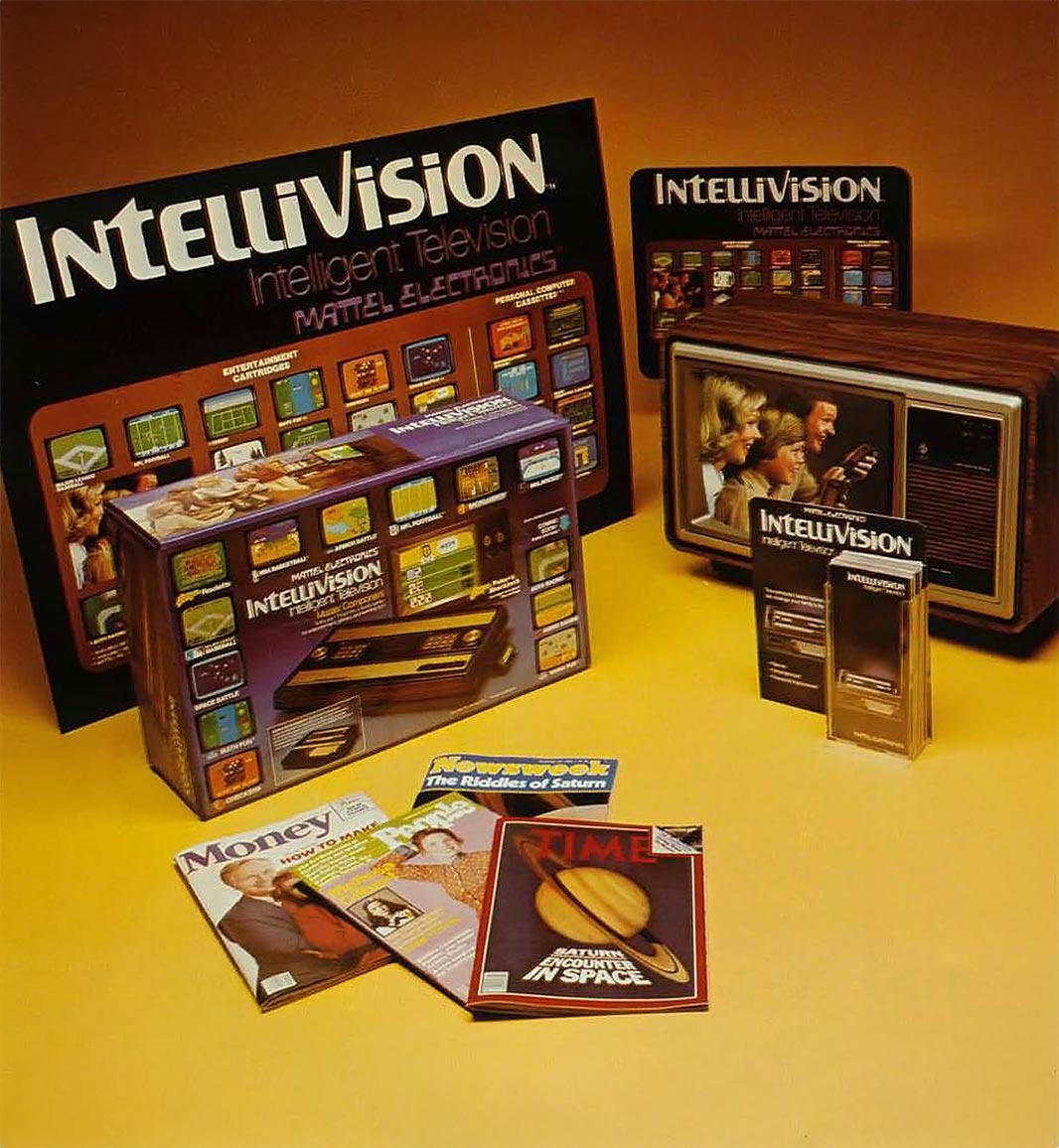Packaging and advertising materials for the Mattel Intellivision console video game