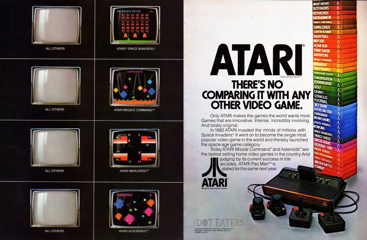 Magazine attack ad by Atari, for the home video game system VCS/2600