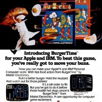 Burgertime, a video game adaptation for IBM PC and Apple computers, by Mattel Electronics