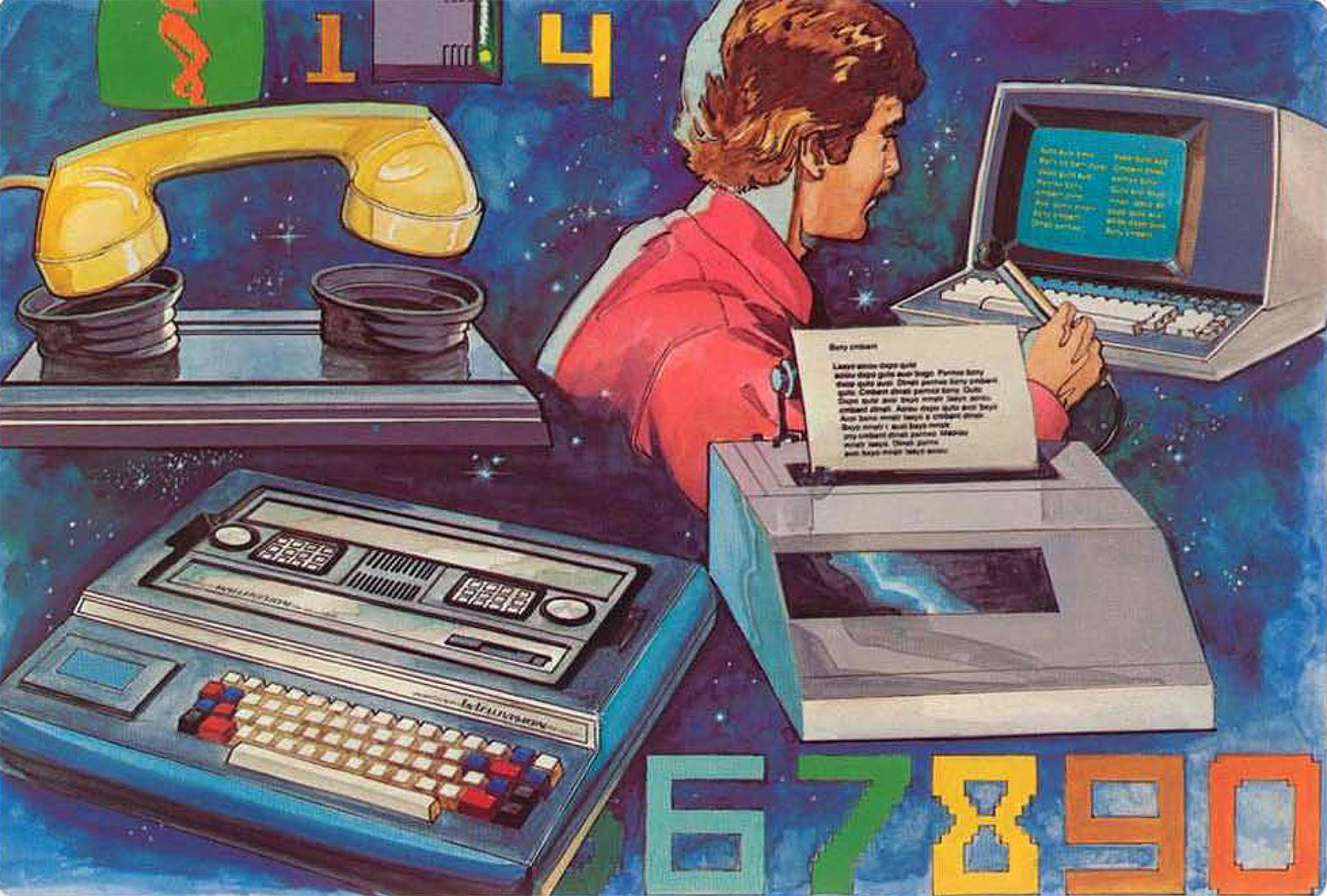 Artist rendition of online peripherals for the Mattel Intellivision console