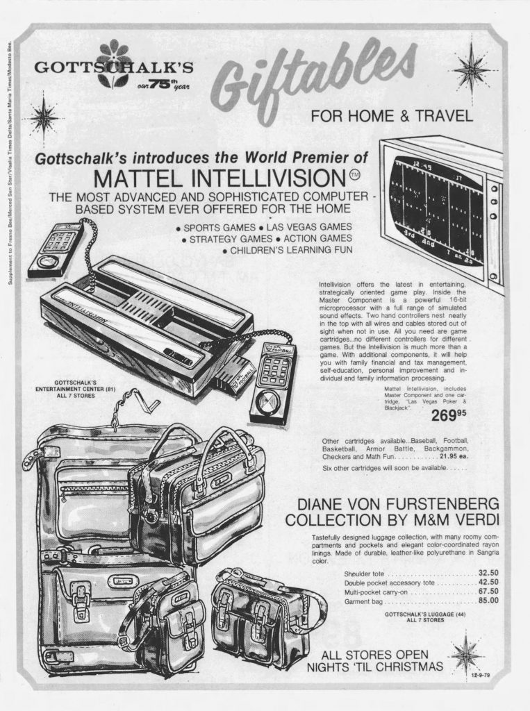 Test marketing in Fresno of the Mattel Intellivision, a video game console by Mattel