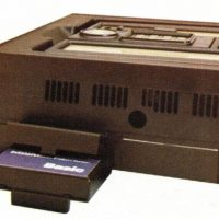 BASIC cartridge plugged into the rear of the Keyboard Component of the Intellivision, a video game system from Mattel