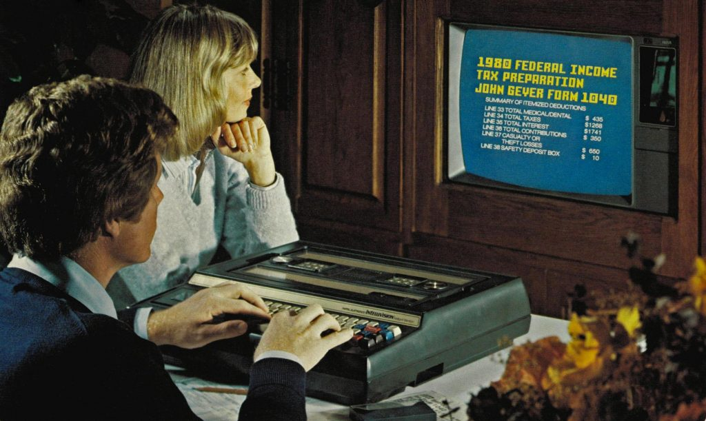 Keyboard and Intellivision, a video game console by Mattel