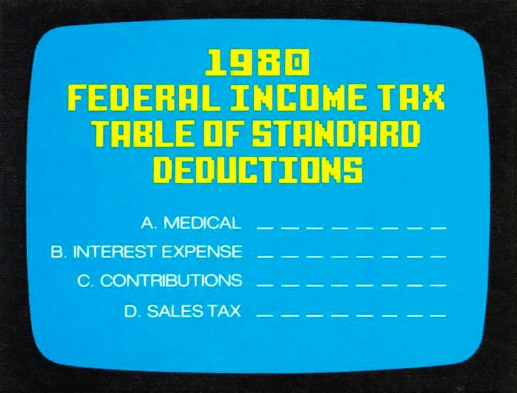 Tax program for the Intellivision, a video game console by Mattel