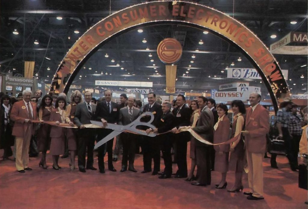 Ribbon cutting for 1983 Winter CES, where the Intellivision II home game console is debuted.