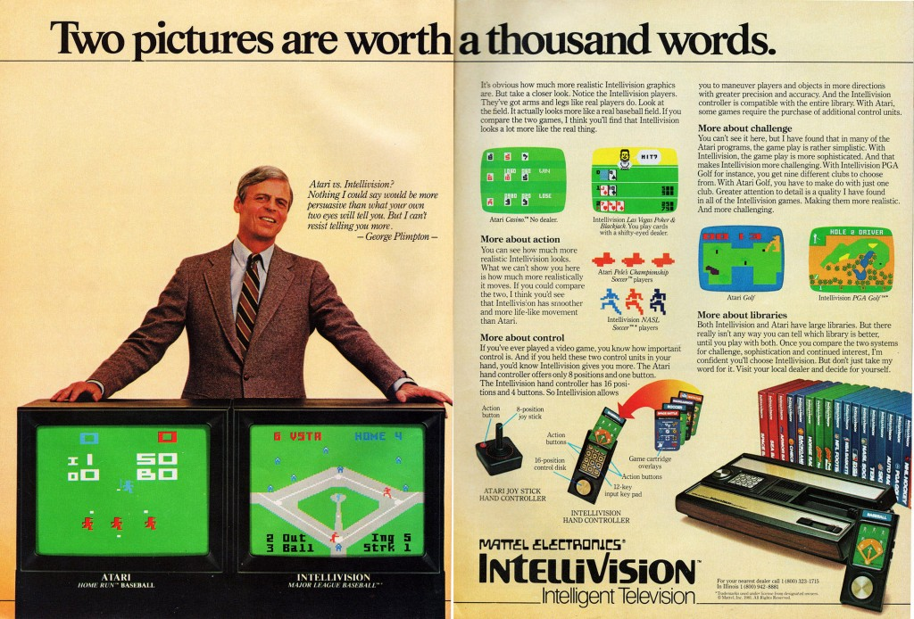 Magazine attack ad for the Intellivision, a home video console by Mattel