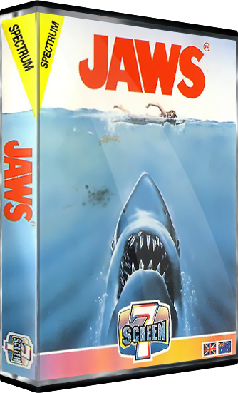 Jaws, a computer video game based on the Steven Spielberg movie, for the ZX Spectrum home computer