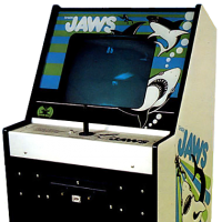 Cabinet for shark JAWS, an arcade video game by Horror Games/Atari 1975