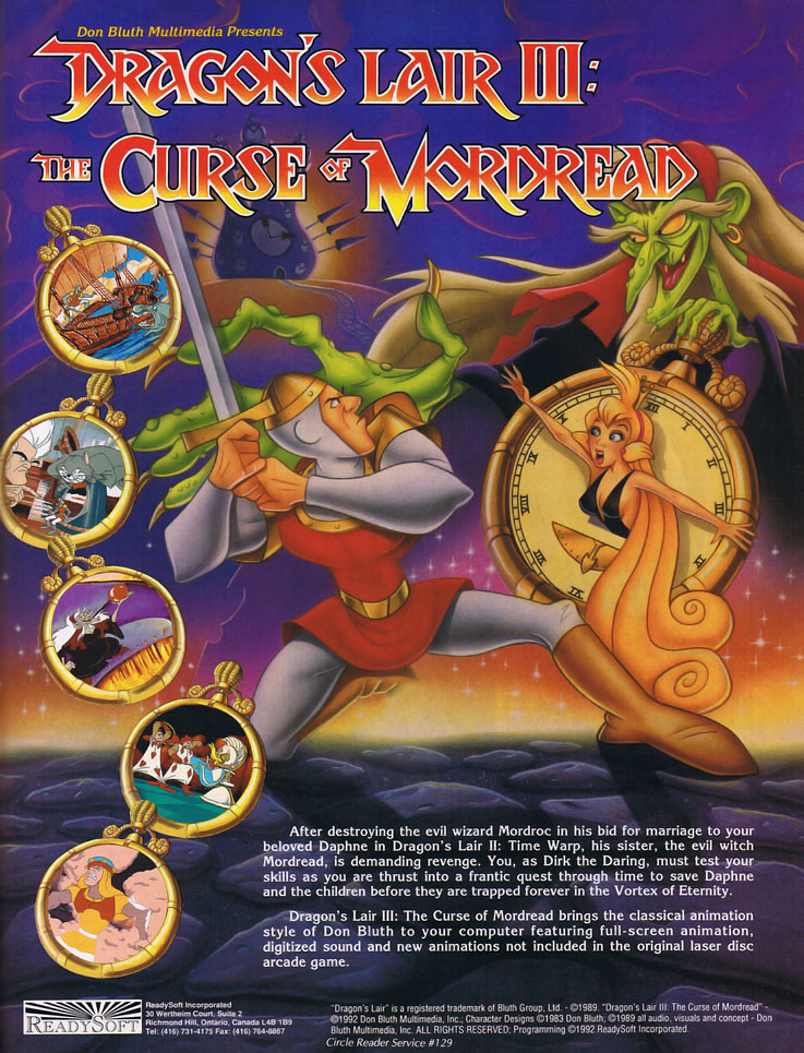 Magazine ad forDragon's Lair III: The Curse of Mordread, a computer game by Readysoft 1992