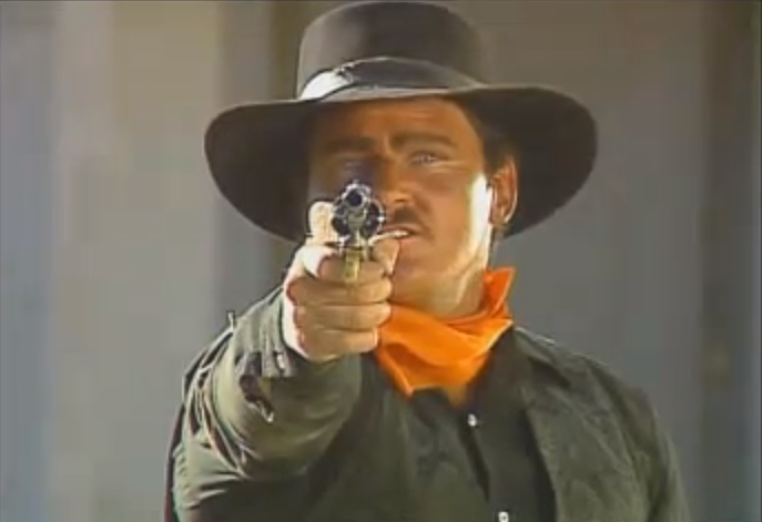 An image from Mad Dog McCree, an arcade laserdisc video game by American Laser Games, 1990