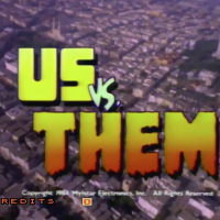 Title screen from Us vs. Them, an arcade laserdisc video game by Mylstar 1983