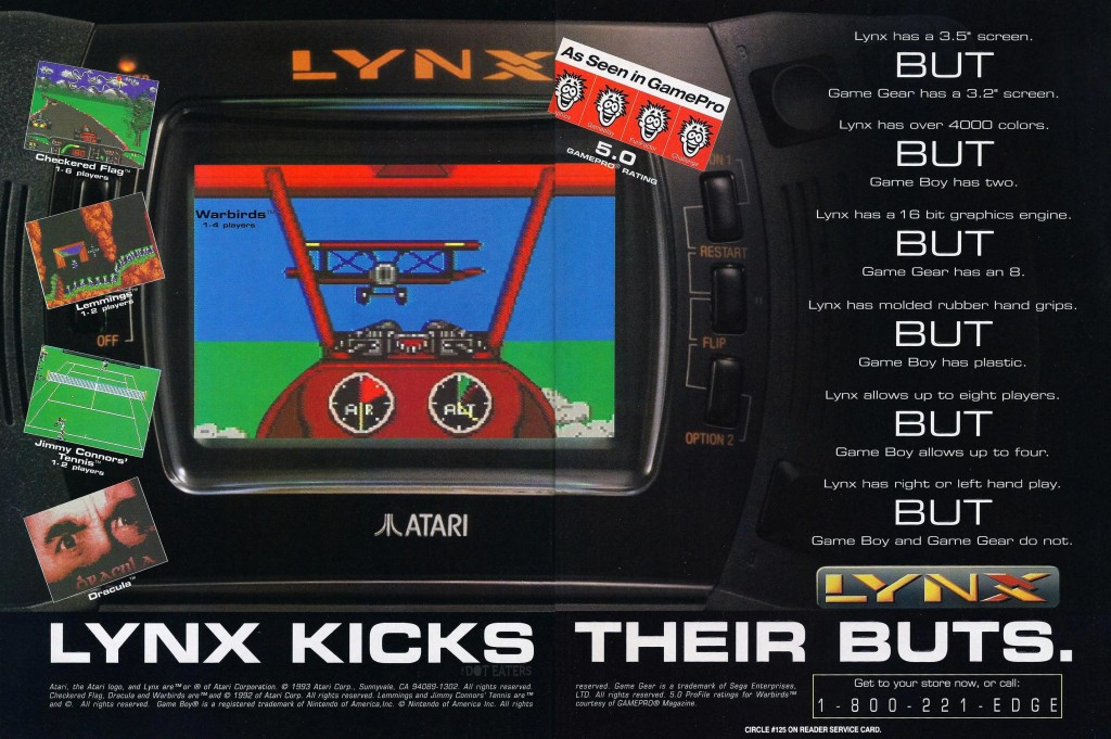 Ad for Lynx, a hand-held video game system by Atari