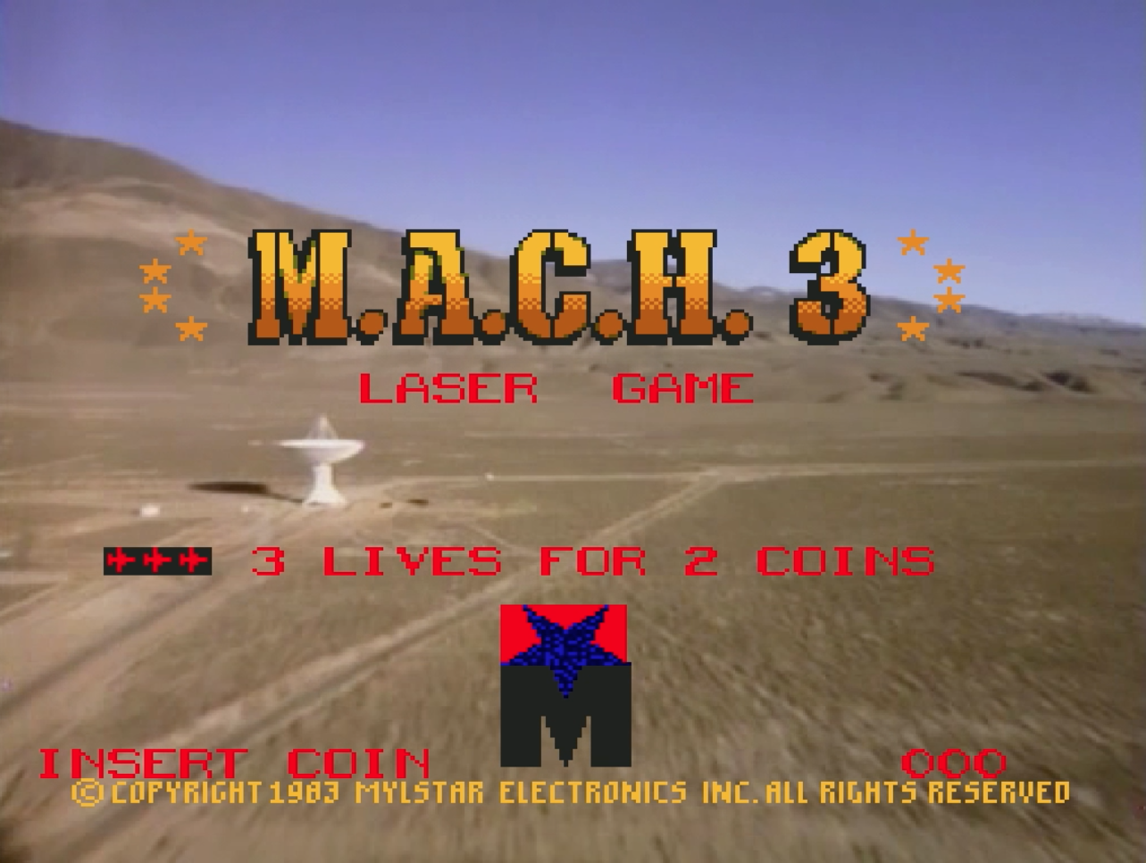 Title screen for M.A.C.H. 3, an arcade laserdisc game by Mylstar 1983
