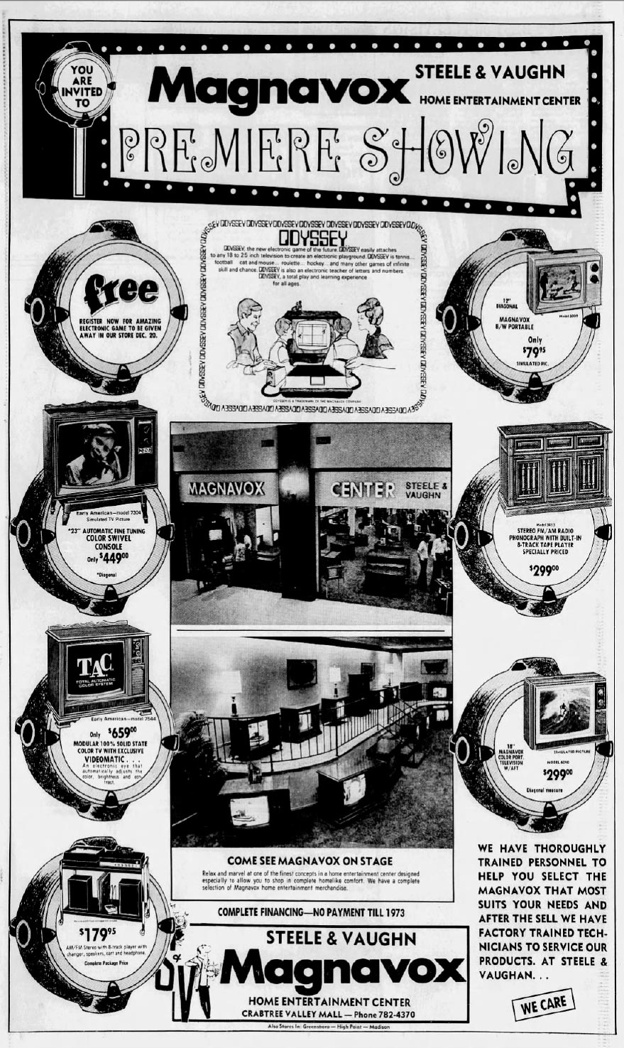Newspaper ad for the Odyssey, the first home video game console