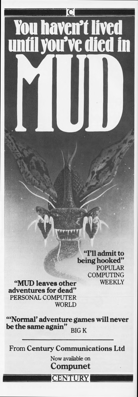 Ad for MUD, an online computer role playing game, 1985