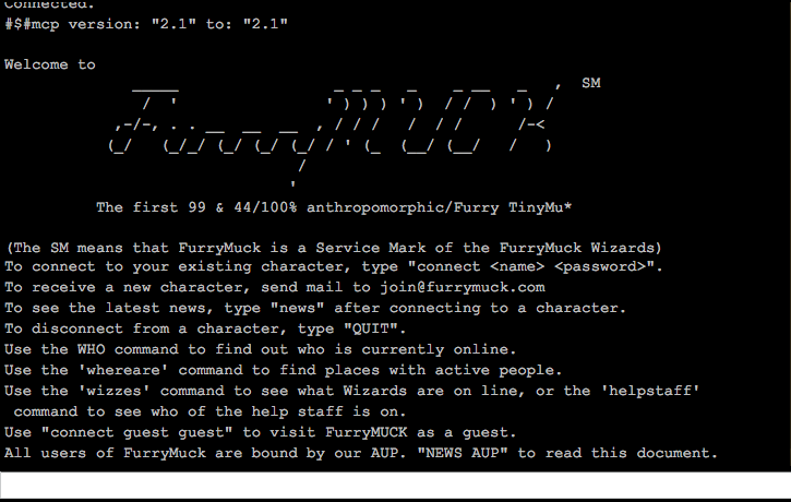 Opening screen for FurryMUCK, circa 2013