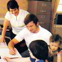 Linda and Ed Averett and children, circa 1982