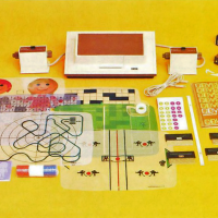 Items included in the packaging of the Odyssey, the first home video game, by Magnavox 1972