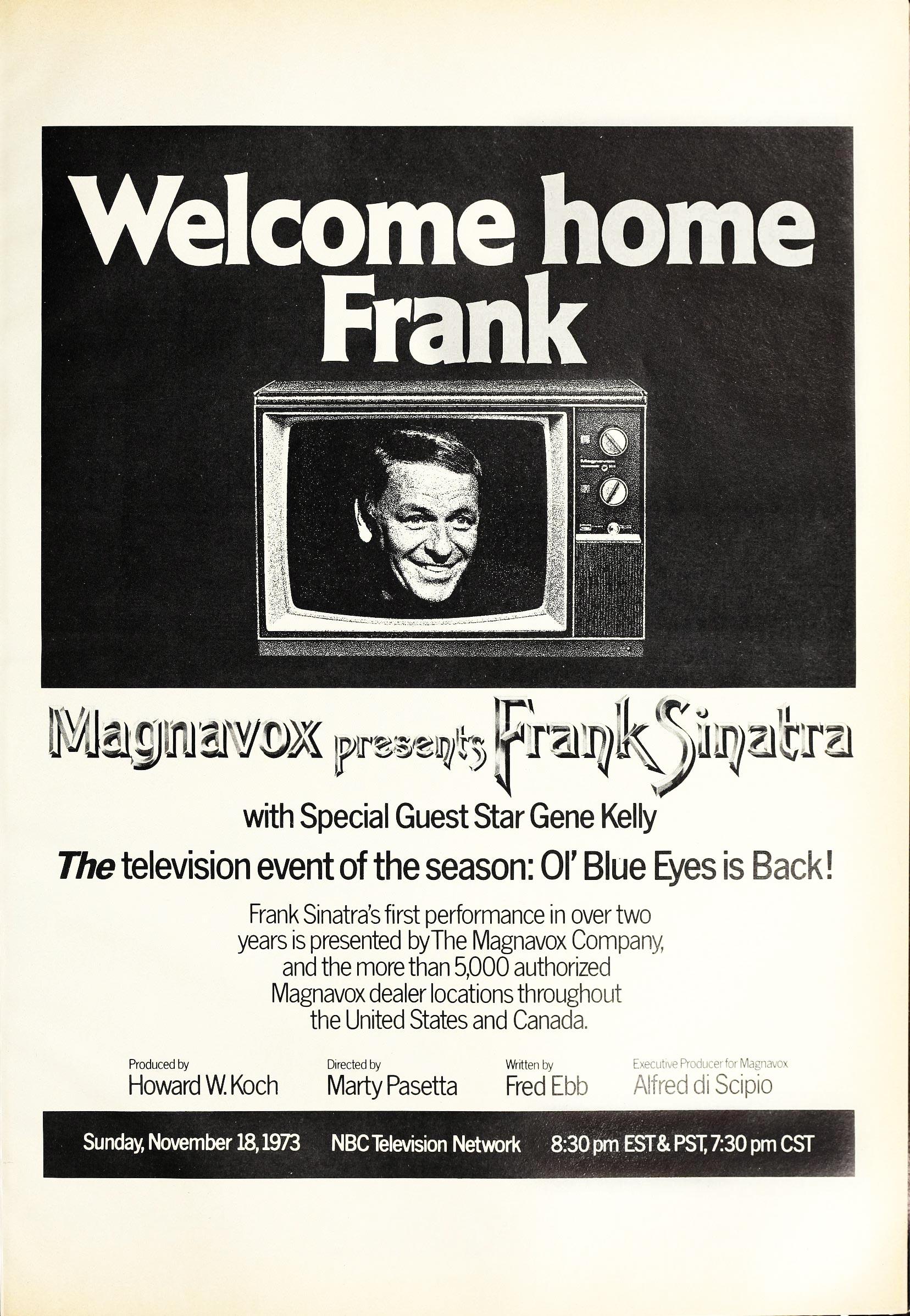 Ad for Frank Sinatra Magnavox TV special