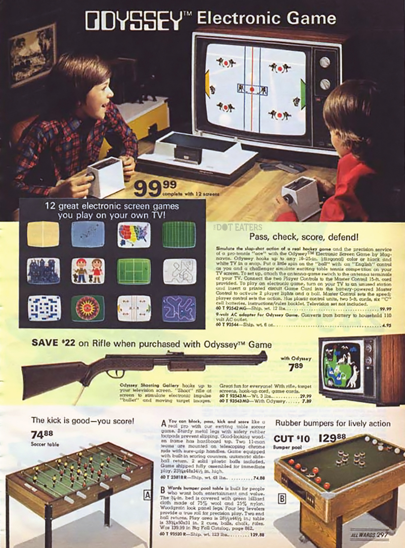 Wards catalog page featuring the Odyssey, a video game console by Magnavox 1972