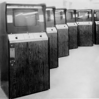 Image of Hit-N-Run cabinets, an arcade video game by Sanders Associates 1975