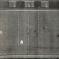 A screen shot of Skate-N-Score, an arcade video game by Sanders Associates 1975